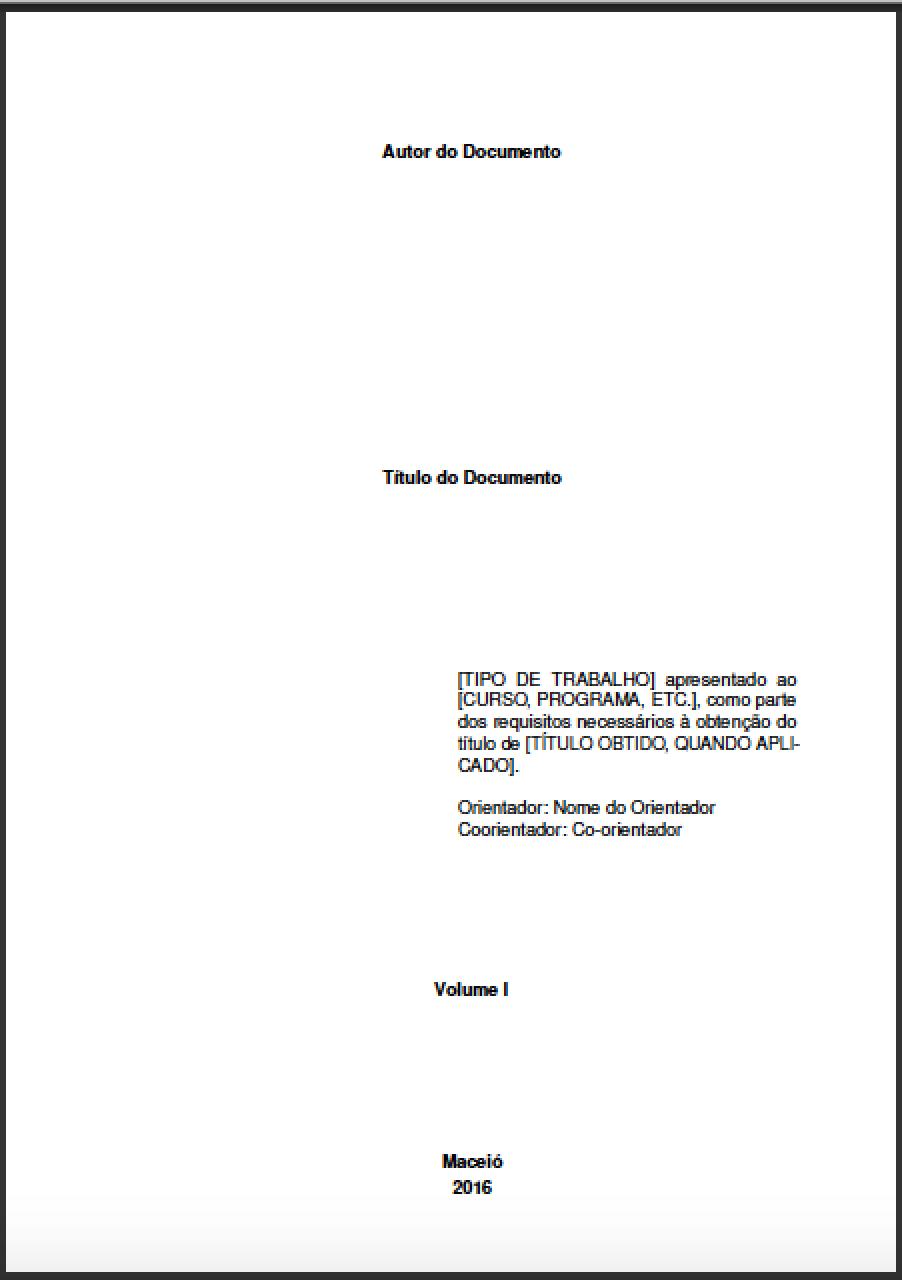 Exemplo de Folha de Rosto